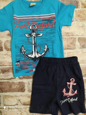 Летен комплект синя тениска с котва, къси черни панталони с котва