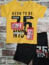 Летен комплект жълта тениска с надпис и черни къси панталони
