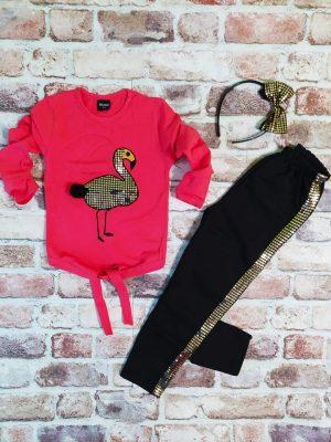 Червена близа с фламинго, черен клин златни пайети и диадема с панделка