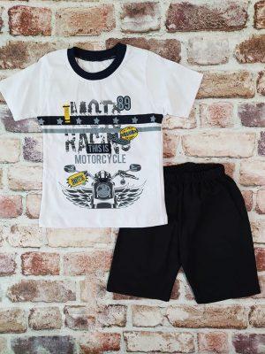 Летен комплект бяла тениска със щампа на мотор и къси черни панталони