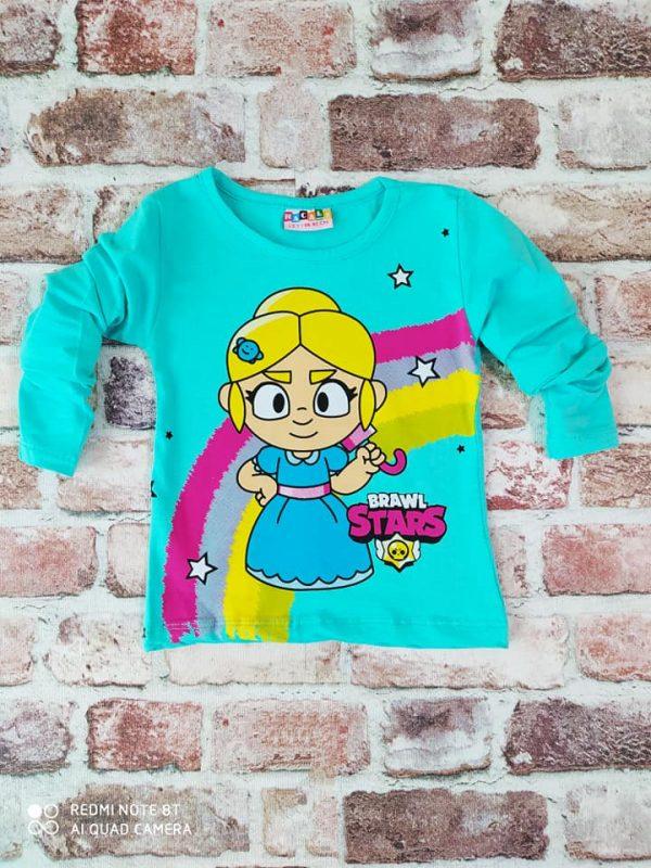 Блуза дъга с момиче в цвят мента