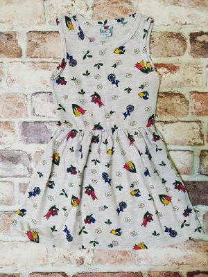Сива рокля с флорални мотиви