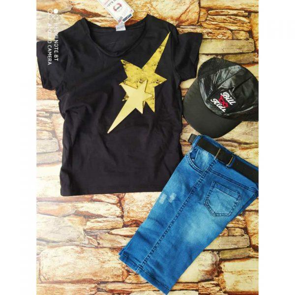 Дънков комплект, тениска, къси дънки, кожен колан, кожена шапка