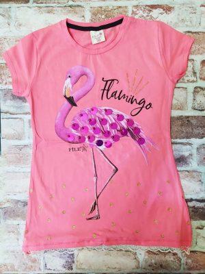 Розова тениска с фламинго и пайети, дантела в долната част.
