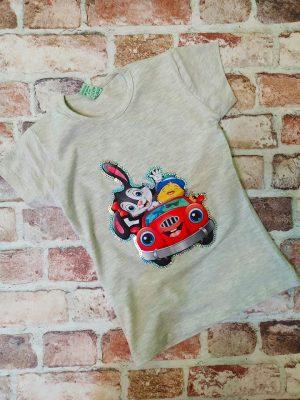 Сива тениска зайче с кола и пайети