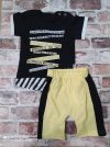 Летен комплект черна тениска с тик так закопчаване и жълти къси панталони тип потур с джобове