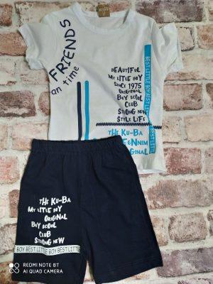 Летен комплект бяла тениска с надпис, черни къси панталони с надпис