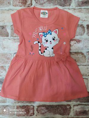 Оранжева рокля с къс ръкав и щампа на коте