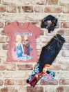 Тениска с принцеси, клин имитация на дънки