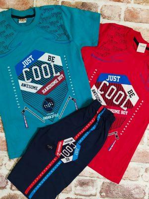 Летен комплект, състоящ се от тениска с надпис - налична в два цвята(червен и зелен) и къси панталони с кантове.