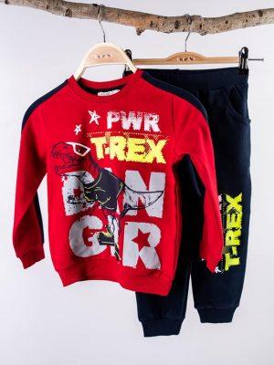 Детски комплект момче Червена блуза с динозавър, черно долнище с надпис