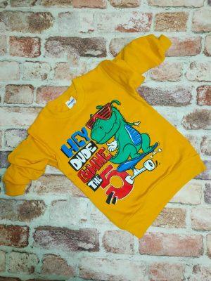 Жълта блуза момче лека вата динозавър