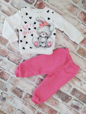Ватиран комплект момиче бяла блуза със зайче и розово долнище