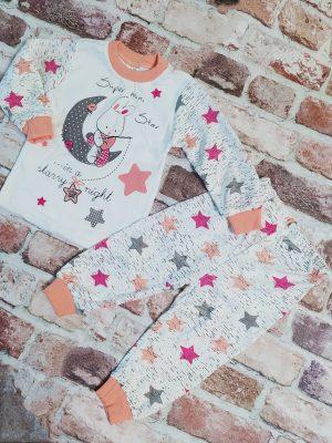 Бяла пижама с луна и звезди