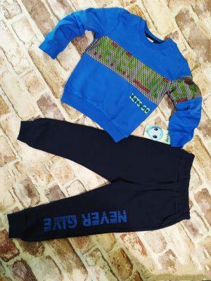 Детски Комплект момче синя блуза и черно долнище