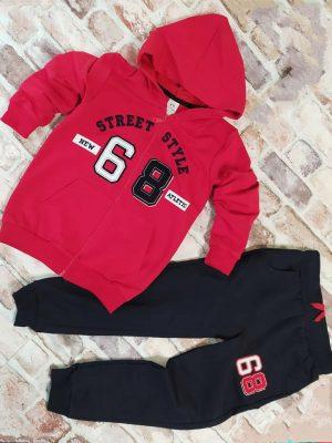 Детски Комплект момче червен суитчър и черно долнище