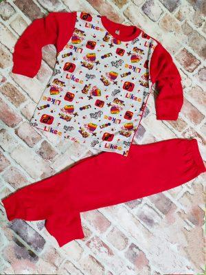 Червена памучна пижама