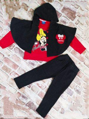 Комплект момиче пончо, панталон и червена блузка