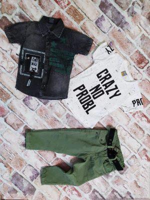 Детски дънков комплект момче четири части Дънки, колан дънкова риза, тениска