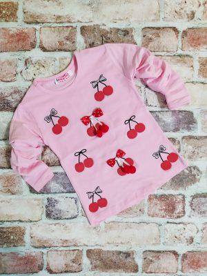 Блуза момиче дълъг ръкав розова череши