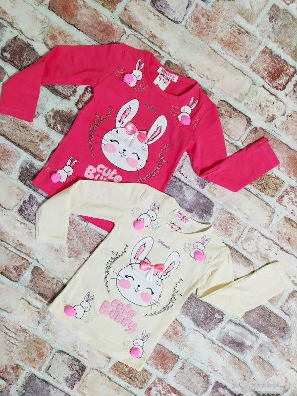 Блуза момиче дълъг ръкав със зайче