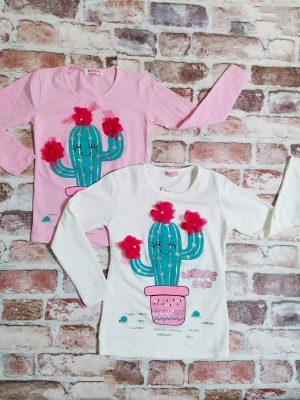 Блуза момиче дълъг ръкав с кактус