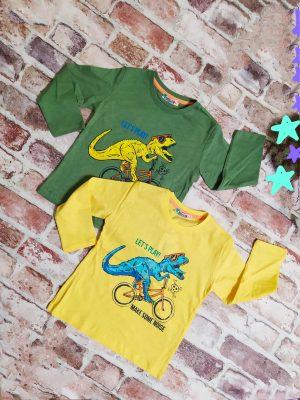 блуза момче дълъг ръкав динозавър жълта зелена