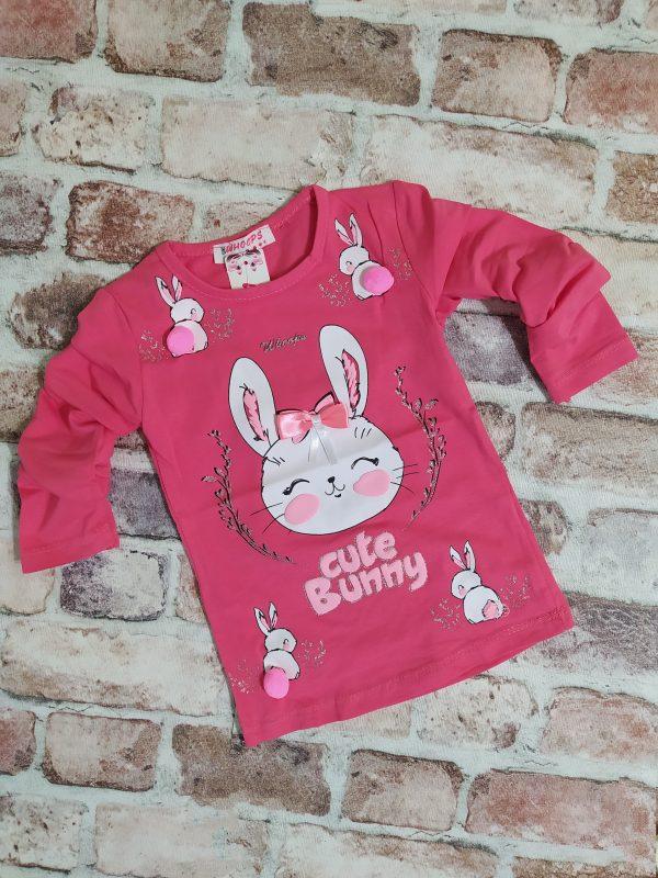 Блуза момиче дълъг ръкав момиче розова зайче