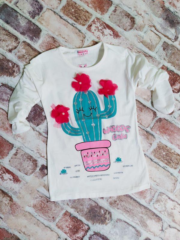блуза момиче дълъг ръкав кактус бяла