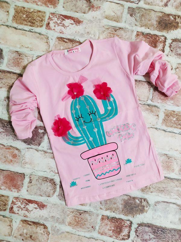 блуза момиче дълъг ръкав розова кактус
