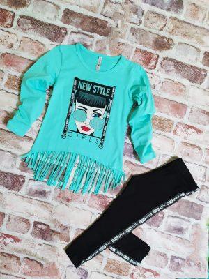 Комплект момиче блуза с ресни в цвят мента и черен клин с кант