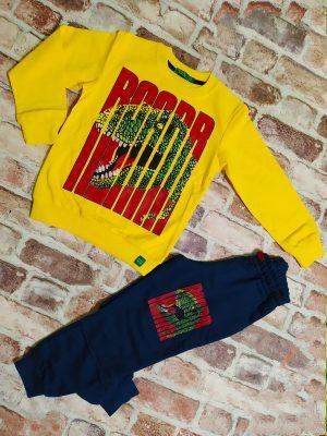 Комплект момче жълта блуза с динозавър и тъмно синьо долнище