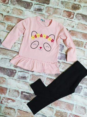 Комплект момиче розова туника черен клин