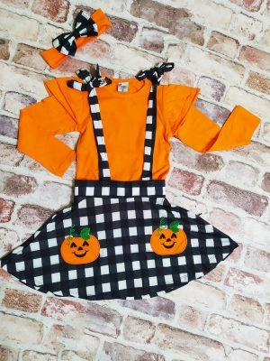 Комплект сукман с тиква, оранжева блуза с ефектен ръкав и лента за коса