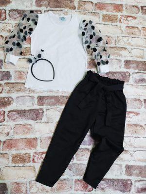 Елегантен детски комплект момиче бяла блуза с прозрачни ръкави на черни точки и черен панталон. В комплекта е включена и диадема с панделка.