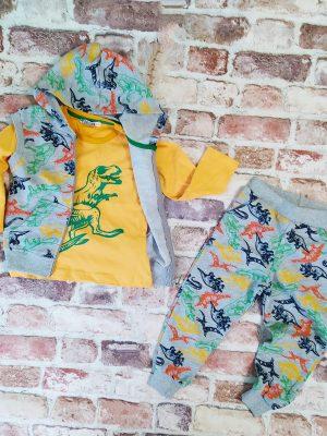 Комплект момче три части елек блуза долнище с динозаври