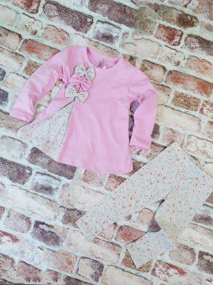 Комплект момиче лилава туника с панделки и сив клин