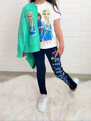 Комплект момиче принцеси суитчър тениска клин