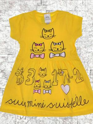 Детска рокля жълта котета