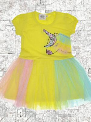Детска рокля Еднорог тюл жълта