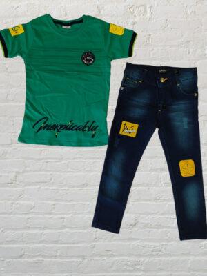 Комплект дънки с тениска