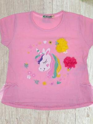 Блуза Еднорог с дантела розова