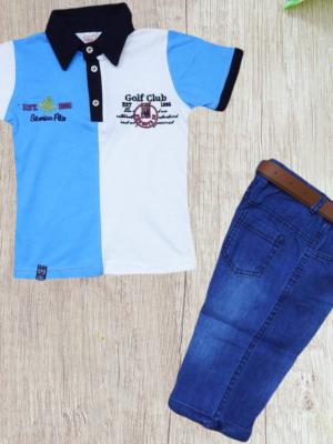 Дънков комплект за момче - тениска, дънки с колан.