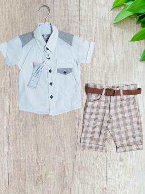 Летен комплект за момче риза с къси панталони