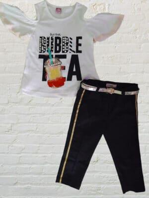 Комплект за момиче с блузка паднало рамо , черен панталон със златист кант и кожен колан