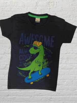 Тениска за момче в цвят индиго с щампа на динозавър