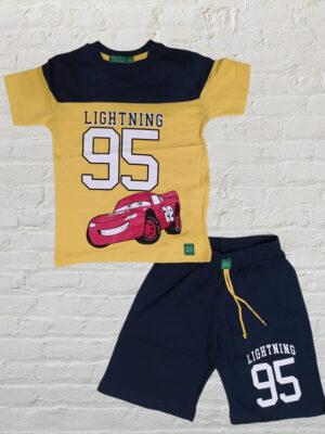 Летен комплект за момче тениска с кола и къси панталони