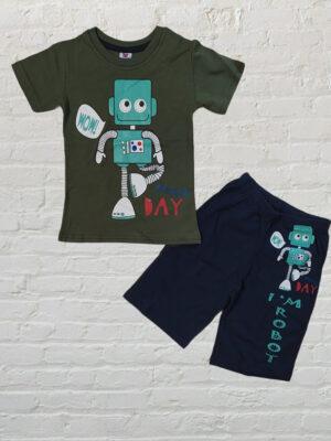 Летен комплект за момче тениска и къси панталони с робот