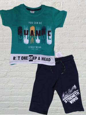 Летен комплект за момче тениска и къси панталони