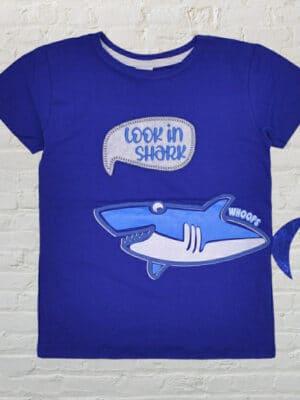 Синя тениска за момче с акула